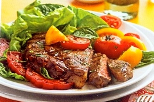 grilled-ribeye-steaks-with-tomatoes recipe