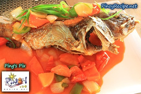 Lapu-lapu escabeche or lapu lapu sweet and sour