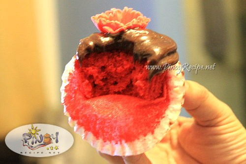 red velvet cupcake with choco frosting