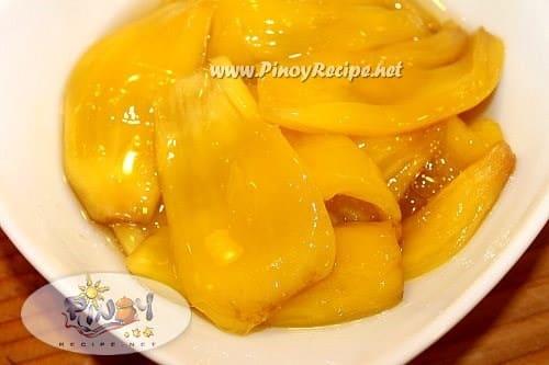 minatamis na langka or sweetened jackfruit recipe