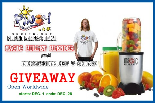 Enter the MAGIC BULLET BLENDER  giveaway. Ends 12/26.