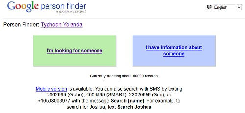 yolanda google survivor finder