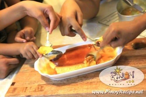 Kalabasa Leche Flan kids eating