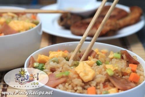 ham and egg fried rice recipe by Filipino Recipes Portal