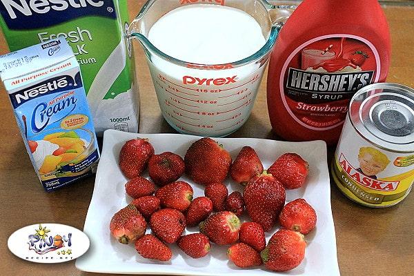 Ingredients of Strawberry Yogurt Ice Cream