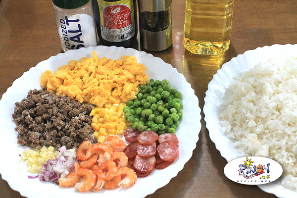 Ingredients of Yang Chow Fried Rice