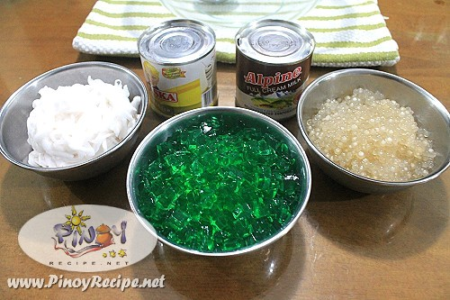 buko pandan juice drink with sago ingredients