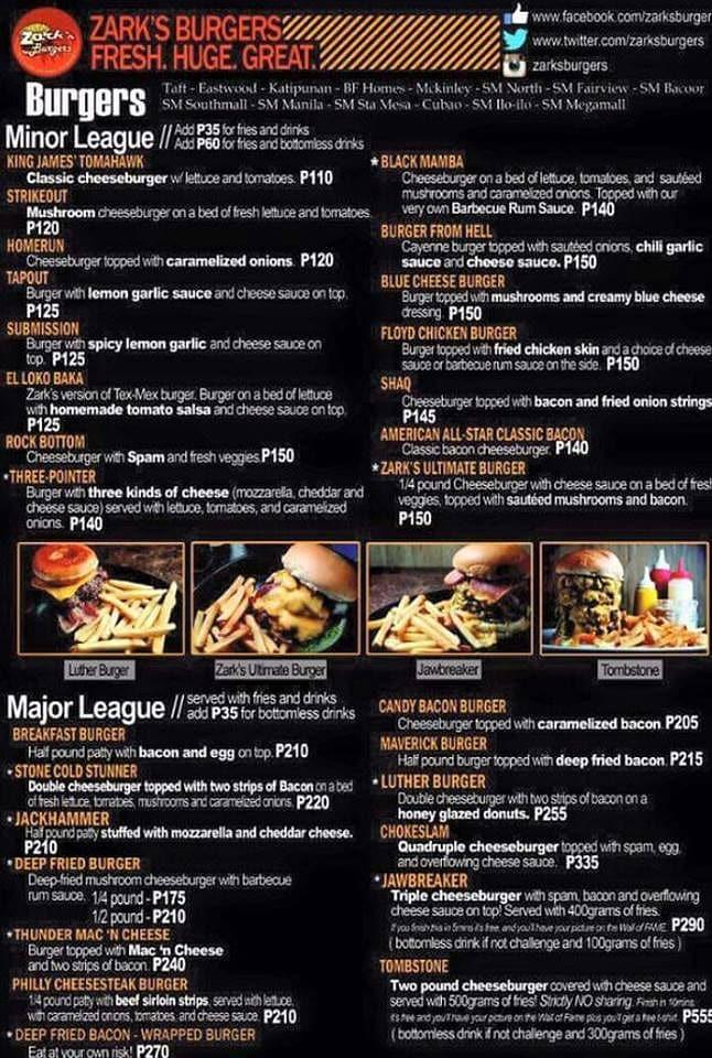 zarks menu