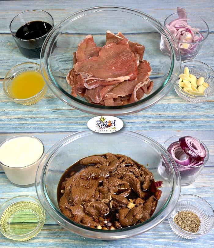 Ingredients of Creamy Bistek Tagalog