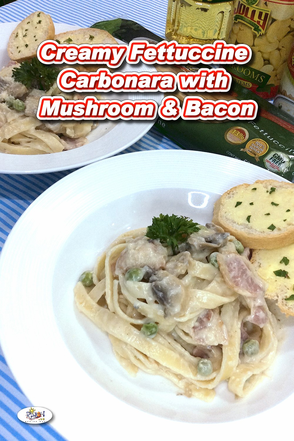 Creamy Fettuccine Carbonara Recipe with Mushroom and Bacon