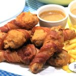 Bacon Wrapped Fried Chicken with Fries