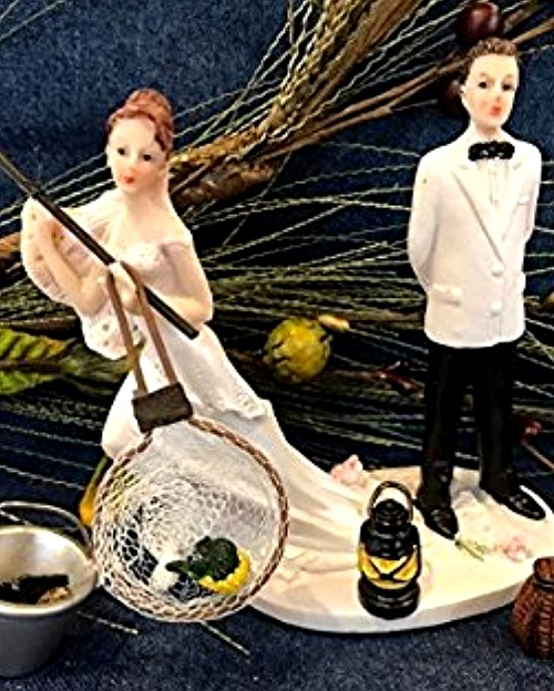 Funny Wedding Toppers - Wedding Bride Rather Go Fishing