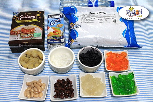Ingredients of Halo Halo Graham Float