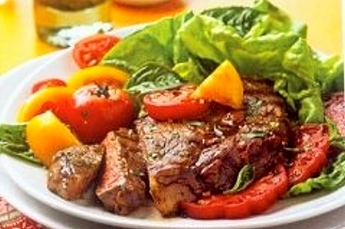 Grilled Ribeye Steaks with Tomatoes Recipe