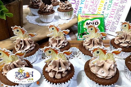 No Bake Milo Cupcakes with wafer topper
