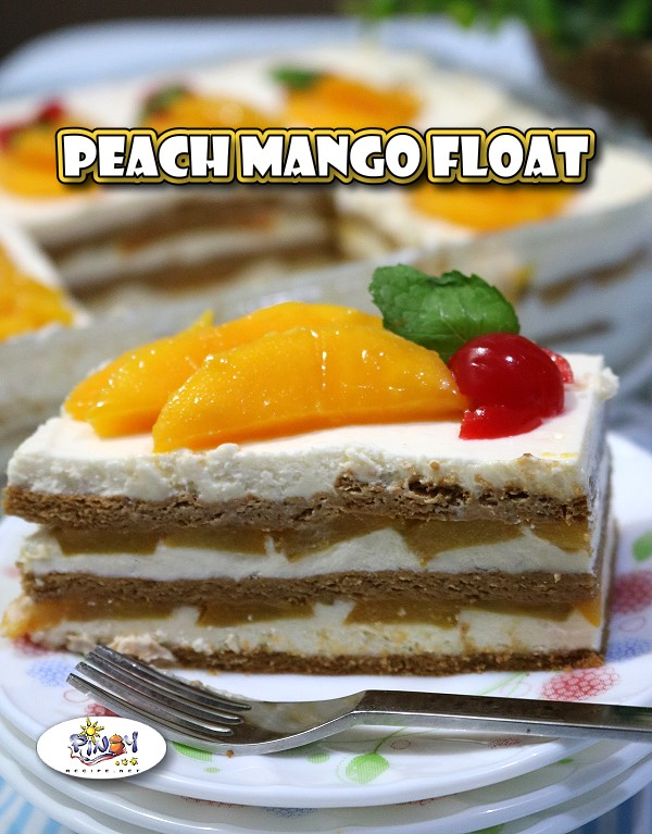 Peach Mango Float Recipe is a Filipino dessert that has a beautiful layering of graham crackers that has a smooth and Vanilla whipped Cream with layers of Mangoes and Peaches and with a hint of sweetened condensed milk, decorated with sliced mango, mint leaves on top and cherries.