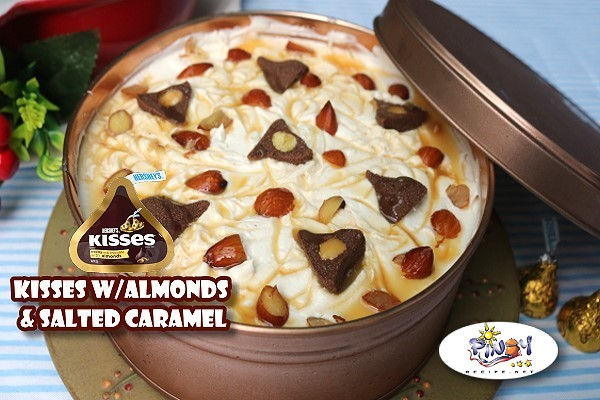 Hersheys Kisses with Almonds and Salted Caramel Icebox Cake