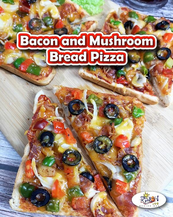 Bacon and Mushroom Bread Pizza fo Pinterest