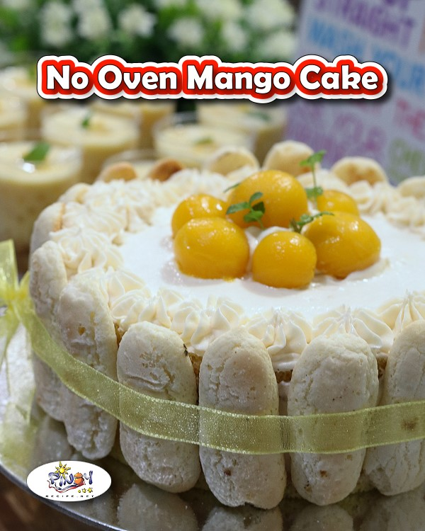 No Oven Mango Cake for Pinterest