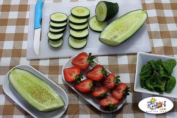 Strawberry Cucumber and Mint Infused Water Ingredients