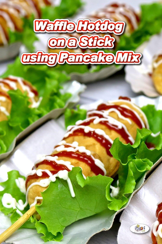 Waffle Hotdog on a stick using Pancake Mix