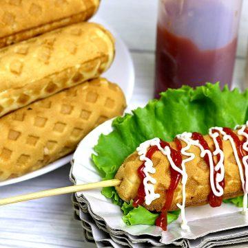 Waffle Hotdog using Pancake Mix