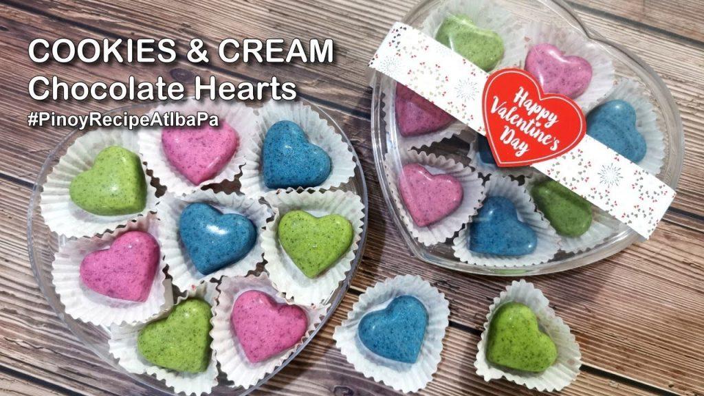 Cookies and Cream Chocolate Hearts