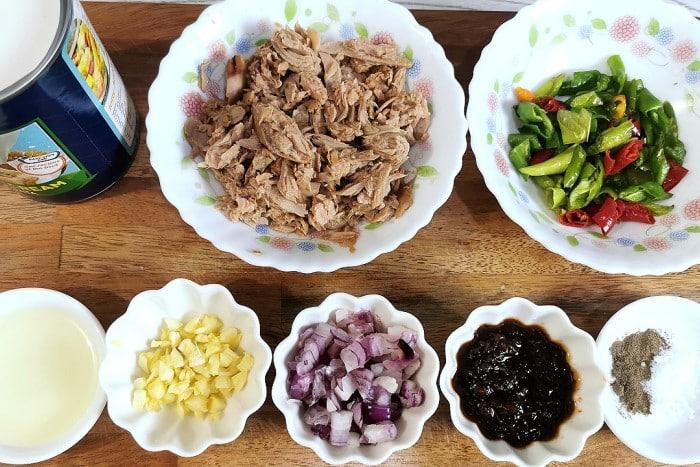 Ingredients of Tuna Bicol Express