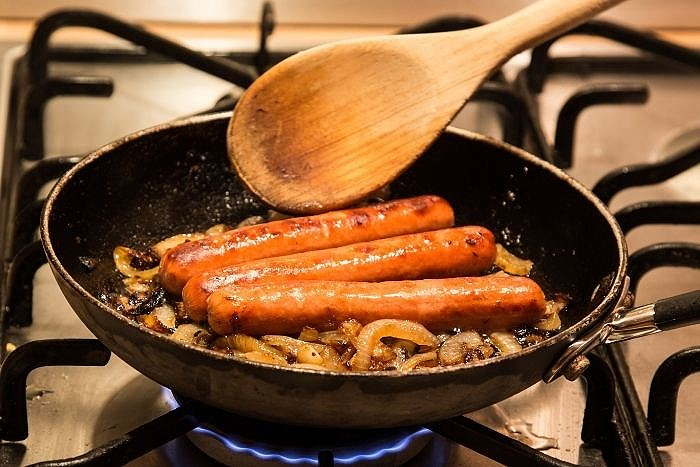 Stovetop cooked Hot Dogs